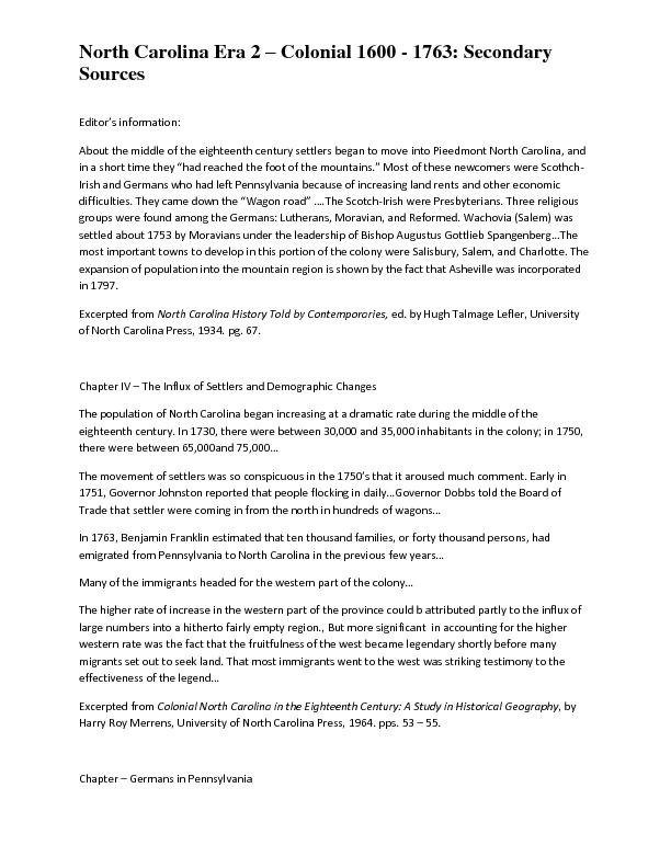 North Carolina Era 2 – Colonial 1600 - 1763: Secondary Sources