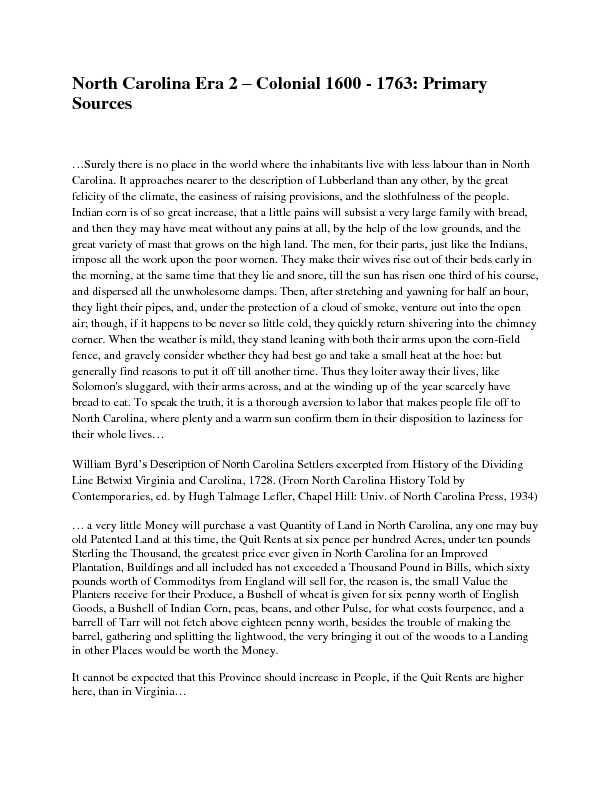 North Carolina Era 2 – Colonial 1600 - 1763: Primary Sources