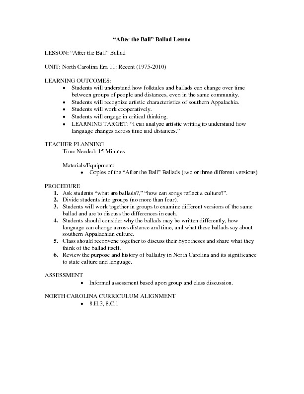 "Lesson 1: North Carolina Era 11: Recent (1975-2010): ""After the Ball"" Ballad Lesson Plan"