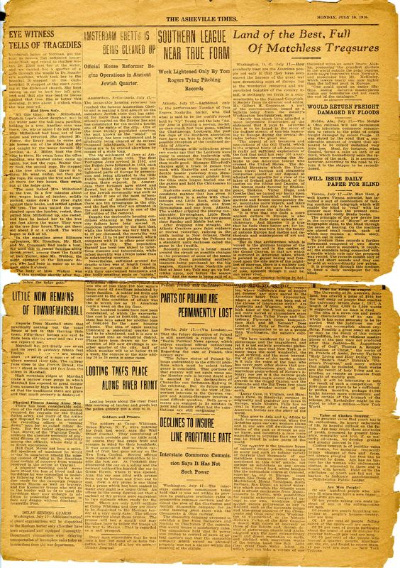 Lesson 1: North Carolina Era 8: Early 20th Century – 1900 - 1929: Asheville Citizen Times, July 16, 1916 page 3 Newspaper clipping