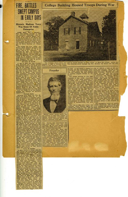 "North Carolina Era 6: Civil War and Reconstruction-1860-1876: ""Fires, Battles Swept Campus in Early Days"" Newspaper clipping"