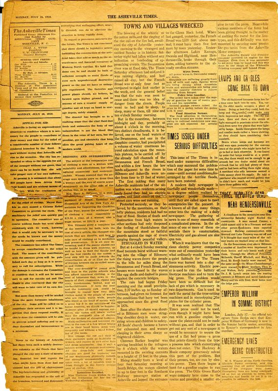 Lesson 1: North Carolina Era 8: Early 20th Century – 1900 - 1929: Asheville Citizen Times, July 16, 1916 page 2 Newspaper clipping