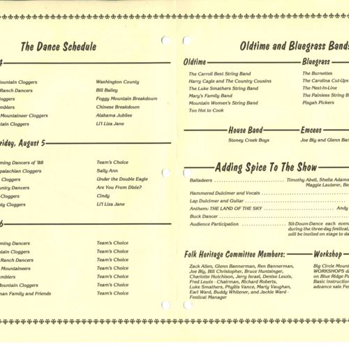 61st Mountain Dance and Folk Festival program, pgs. 2 and 3