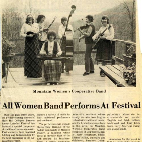 Lunsford Festival article, The News Record, 1981