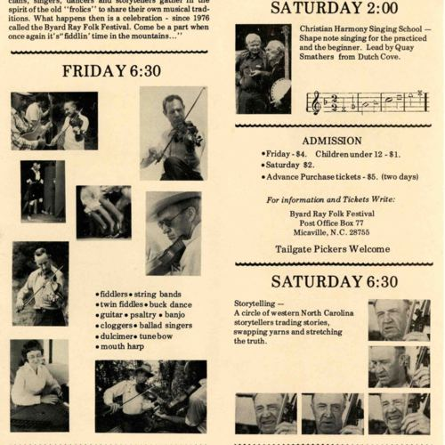 Brochure for 7th Byard Ray Festival, pgs 2 and 3
