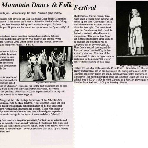 Mountain Dance and Folk Festival, This Week, August 1986, Journal Article