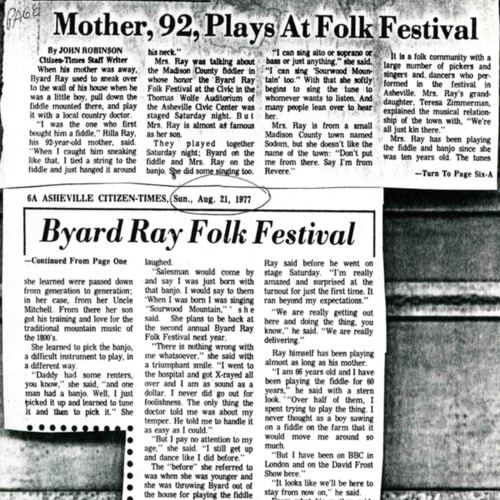 """Mother Plays at Festival"" Newspaper Article"