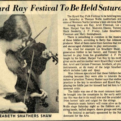 Byard Ray Festival article, Smathers Shaw